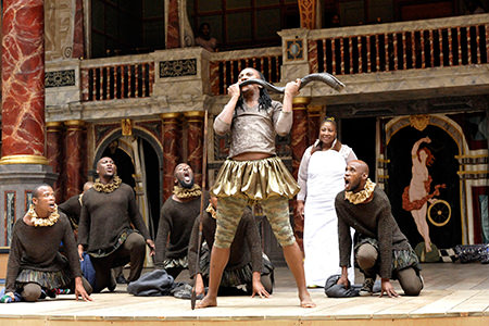 Mhlekazi (Wha Wha) is Adonis with one of the seven actresses that play Venus in Venus and Adonis (U-Venas No Adonisi). Photo courtesy of Shakespeare Theatre Company.