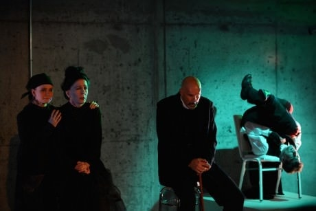From left: Lily Kerrigan (Greta Samsa), Pamela Bierly-Jusino (Mrs. Samsa), David Millstone (Mr. Samsa), and Ari Jacobson (Gregor Samsa) in 'Metamorphosis.' Photograph © Hilsdon Photography.