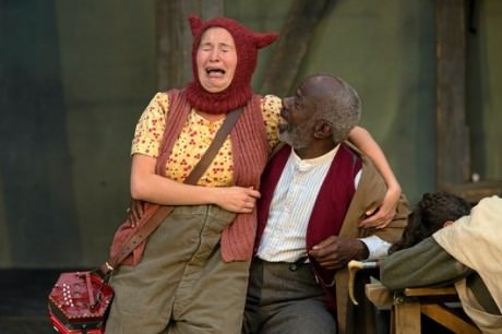 Bethan Cullinane (Fool) and Joseph Marcell (Lear) in King Lear. Photo courtesy of Ionarts.