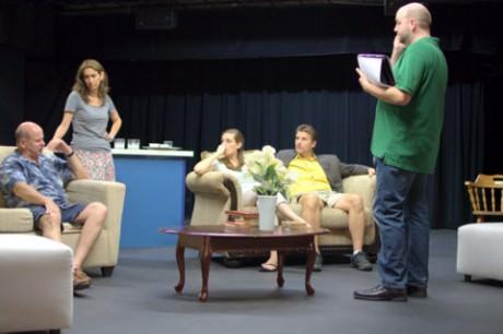 Actors (L-R) Bob Harbaum, Alyssa Sanders, Lauren Kieler, and Andrew Greenleaf with Director Adam R. Adkins, right. Photo by  Pam Burks.
