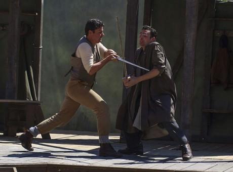 Daniel Pirrie (left) and Alex Mugnaioni do battle in the Globe's 'King Lear.' Photo By Helena Miscioscia.