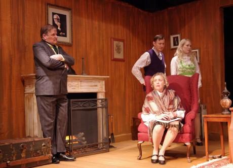 Mark Allen (Mr. Parevicini), Steve Baird (Giles Ralston), Phyllis Kay (Mrs. Boyle), and Elsbeth Clay (Mollie Ralston). Photo by Stan Barouh.