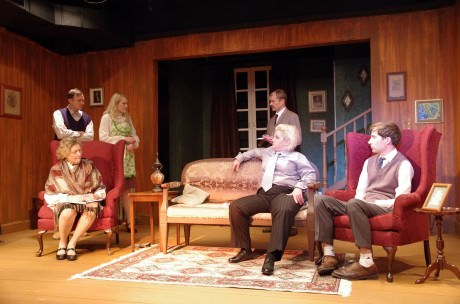 Phyllis Kay (Mrs. Boyle, )Steve Baird (Gile Ralston), Elsbeth Clay (Mollie Ralston), Eric Henry (Detective Sgt. Trotter), Tanya Pfaltzgraff (Miss Casewell), and Thomas Peter (Christopher Wren). Photo by John Cholod.