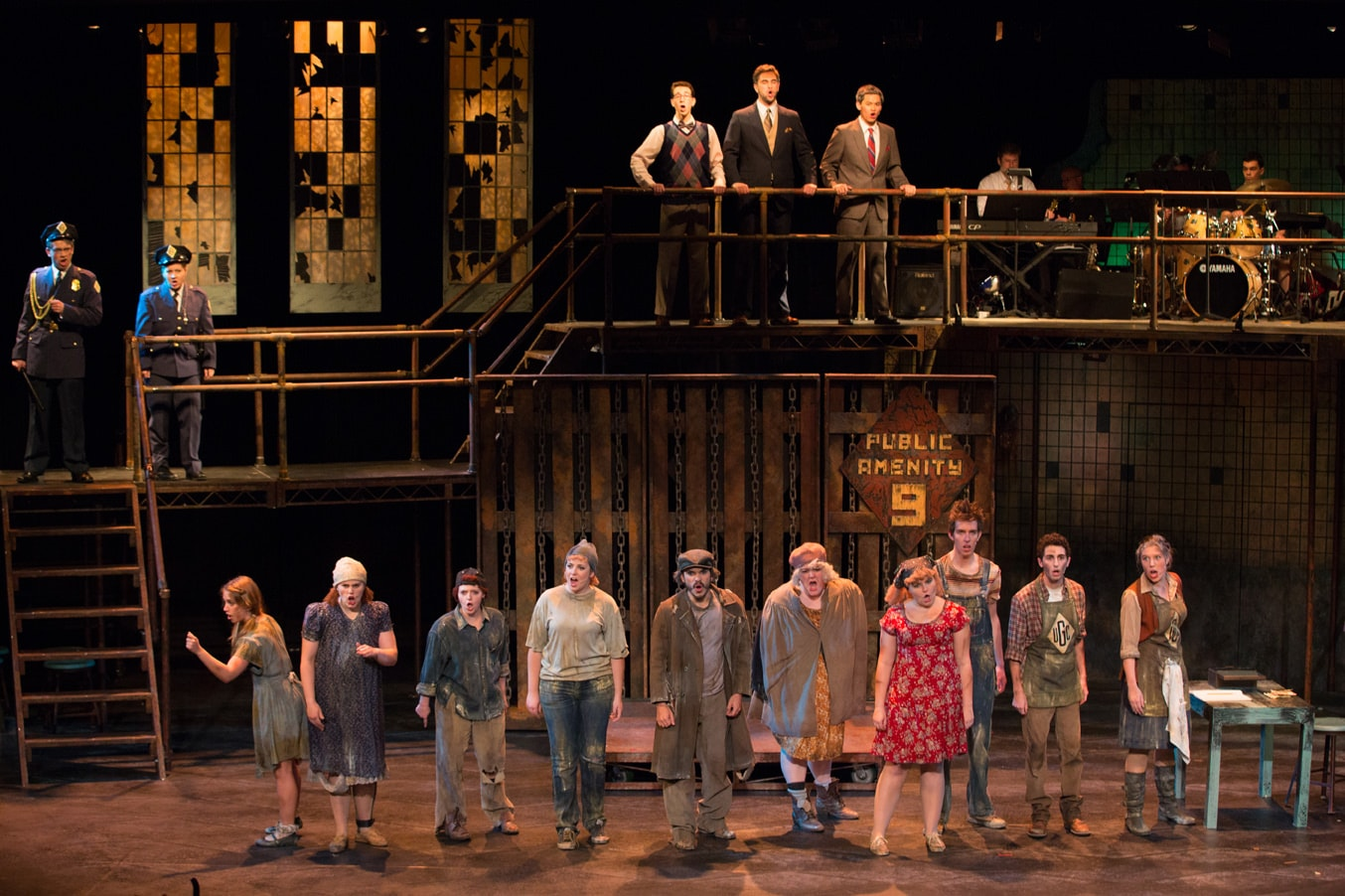 The cast of 'Urinetown the Musical.' Photo by William Atkins, Senior University Photographer.