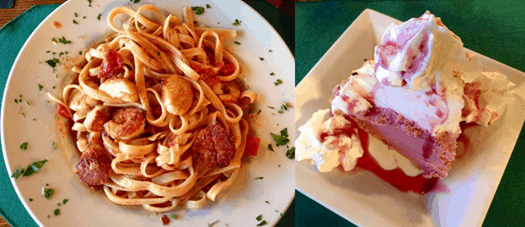 Linguini with shrimp and scallops - Blackberry Ice Cream Pie at the Pollock Dining Room.