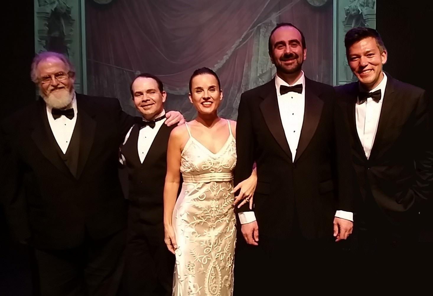 Left to right: Frank Conlon, piano;  Leonid Sushansky, violin; Yana Eminova, soprano; Anton Belov, baritone; and Sean Neidlinger, cello. Photo by Robert Jansen.