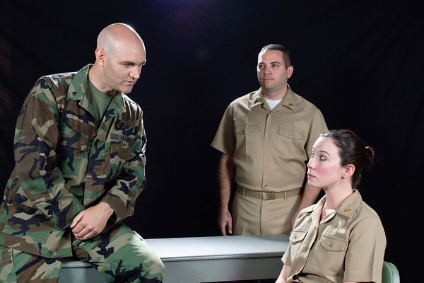 David Thompson, Paul Valleau, and Erin Hill. Photo courtesy of The Colonial Players.