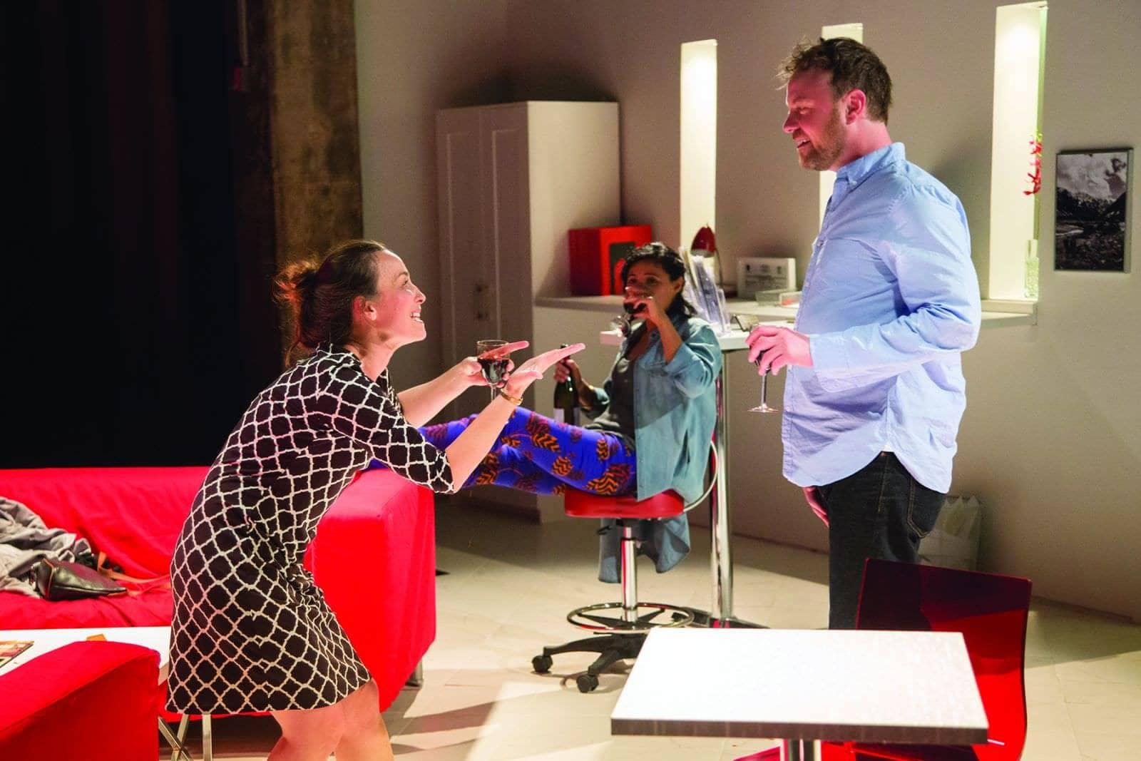 Birgit Huppuch (Dana), Jolly Abraham (Raina) and Tom Story (Lewis) in The Wolfe Twins. Photo by Igor Dmitry.