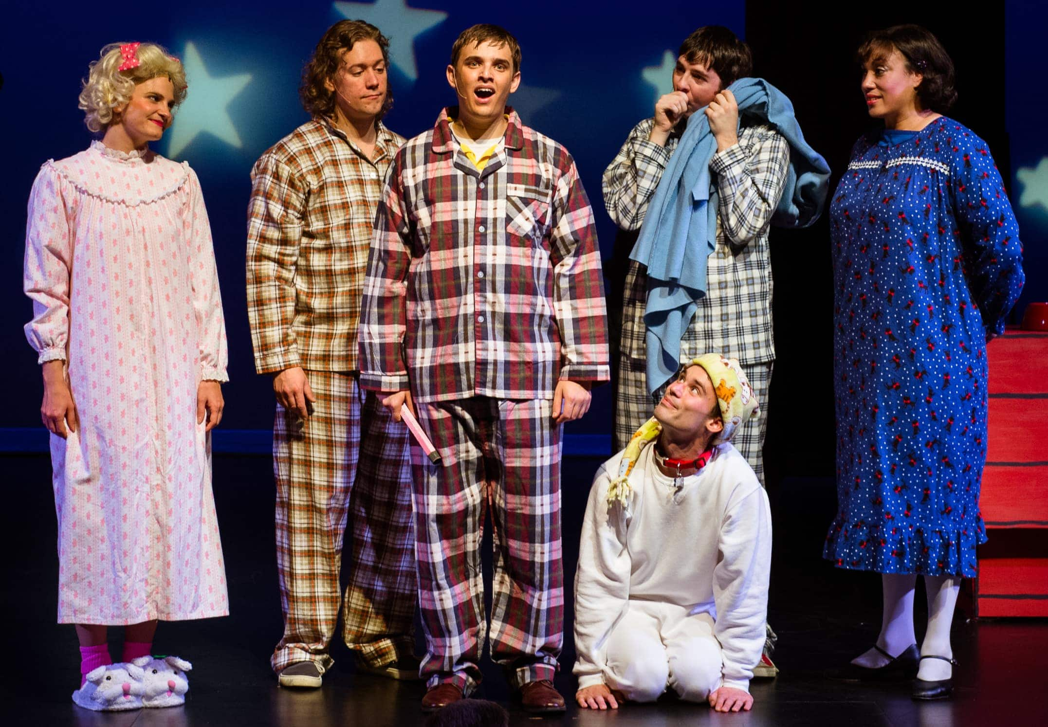 "Rich Farella sings ""Happiness"" as Charlie Brown. Left to right are: Nina Jankowicz as Sally, Eric Hughes as Schroeder, Rich Farella, Terry Barr as Snoopy, Patrick Graham as Linus and Alana D. Sharp as Lucy. Photo by Traci J. Brooks Studios."