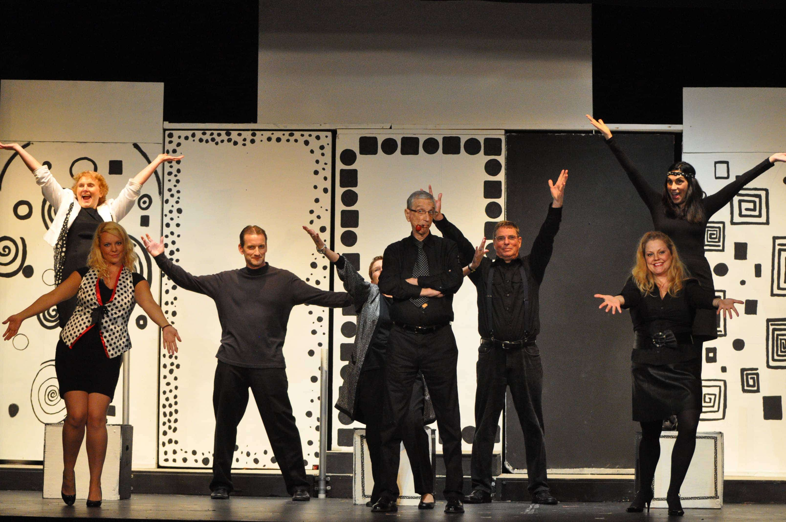 Ensemble from 'A Thurber Carnival' kick it up. From Left to Right back row: Judy Butler, Kevin Walker, Janice Zucker, Bill Doyle, and Sue Schaffel. From Left to Right front row: Amanda Hine, John Burns, and Jocelyn Steiner. Photo by Matthew Randall.