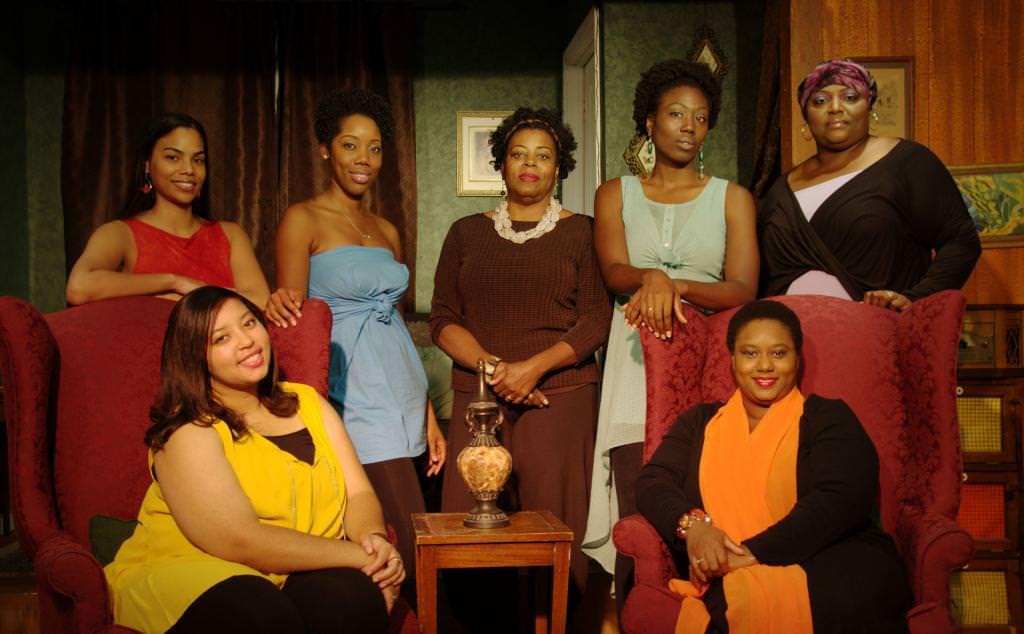 "Ghislaine ""Gigi"" Dwarka (lady in red), Nicole Woody (lady in yellow), Yasmin Holman (lady in blue), Yvonne Paretzky (lady in brown), Chaseedaw Giles (lady in green), La'Angel Hall (lady in purple), Lynnette Franklin (lady in orange). Photo by John Cholod."