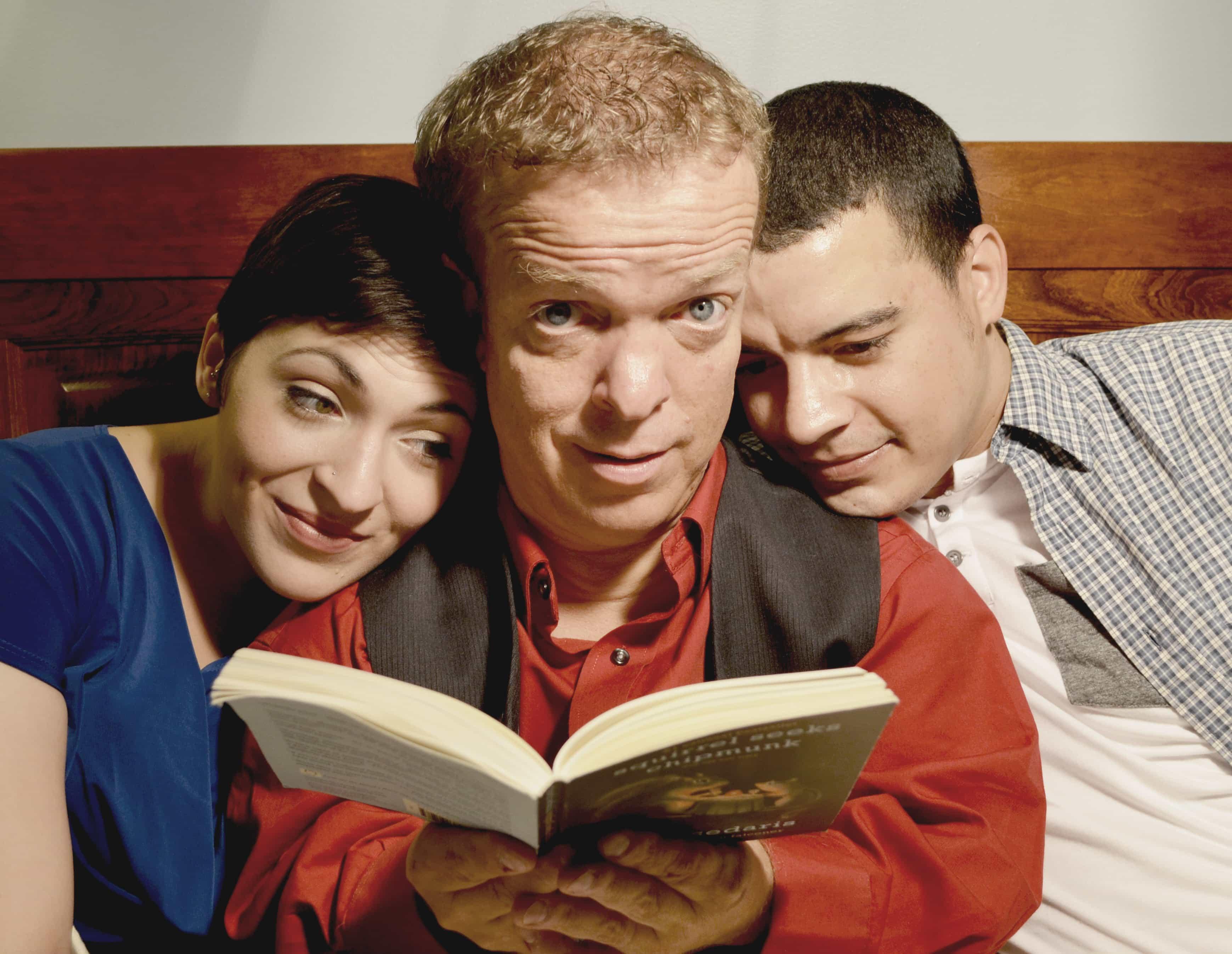 Briana Manente (Dori), Scott Strasbaugh (Danny), and Justus Hammond (Gabe). Photo by David Lewis.
