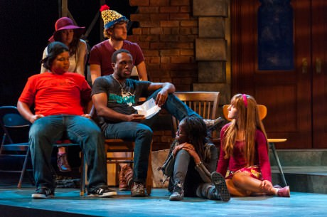 From L to R: (back): Catherine (Noelle Roy) & Llloyd (Noah Israel). Bottom: Donald (Avery Collins), Clorox (Christopher Lane), Lillie Mae (Chioma Dunkley), and Rhoda (Rebecca Mount). They are listening to Clorox's Transformation Monologue.  Photo courtesy of The Clarice.