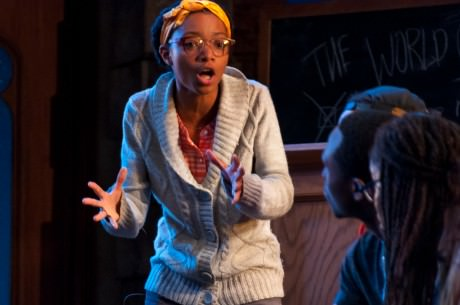 "NELL (Tyasia Velines) is singing ""Take Hold the Crutch"". She is singing currently to DONALD (Avery Collins), CLOROX (Christopher Lane), and LILLIE MAE (Chioma Dunkley). Photo courtesy of The Clarice."