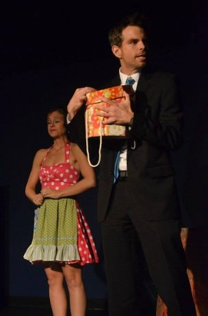Laura Fontaine (Miss Leslie) and Matt Baughman (Sterling Harrison III).  Photo by Shelley Shearer.