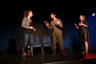 (l to r) Caitlin Shea (Beatrice), Seamus Miller (All Souls), Mary Myers (Donna).  Photo by Rob Parrish