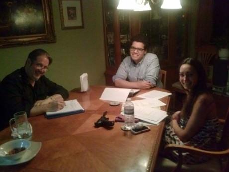 Director Joe Banno rehearses with  Ariana Almajan and Marlowe Vilchez.