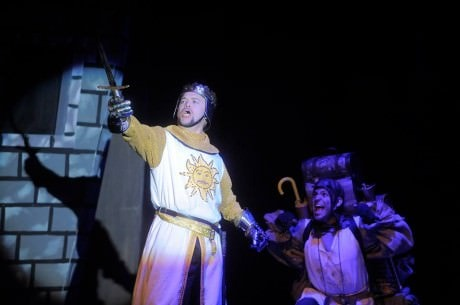 King Arthur (Alan Hoffman) and Patsy (Jeremy  Lagunas). Photo courtesy of Riverside Center Dinner Theater.