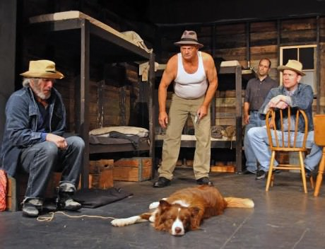 (l to r) David James (Candy), Craig Geoffrion (Carlson), Pagen (dog), Bobby Walsh (Whit), and Ian Wade (Slim). Photo by Chip Hertzog.