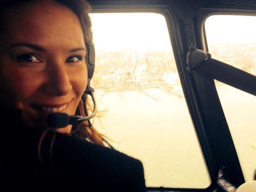 Danielle Talamantes in helicopter November 1. 2014.