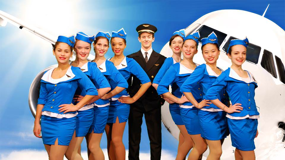 Frank Abagnale Jr. (Lucas Weals) and his stewardesses. Photo courtesy of Walt Whitman High School.