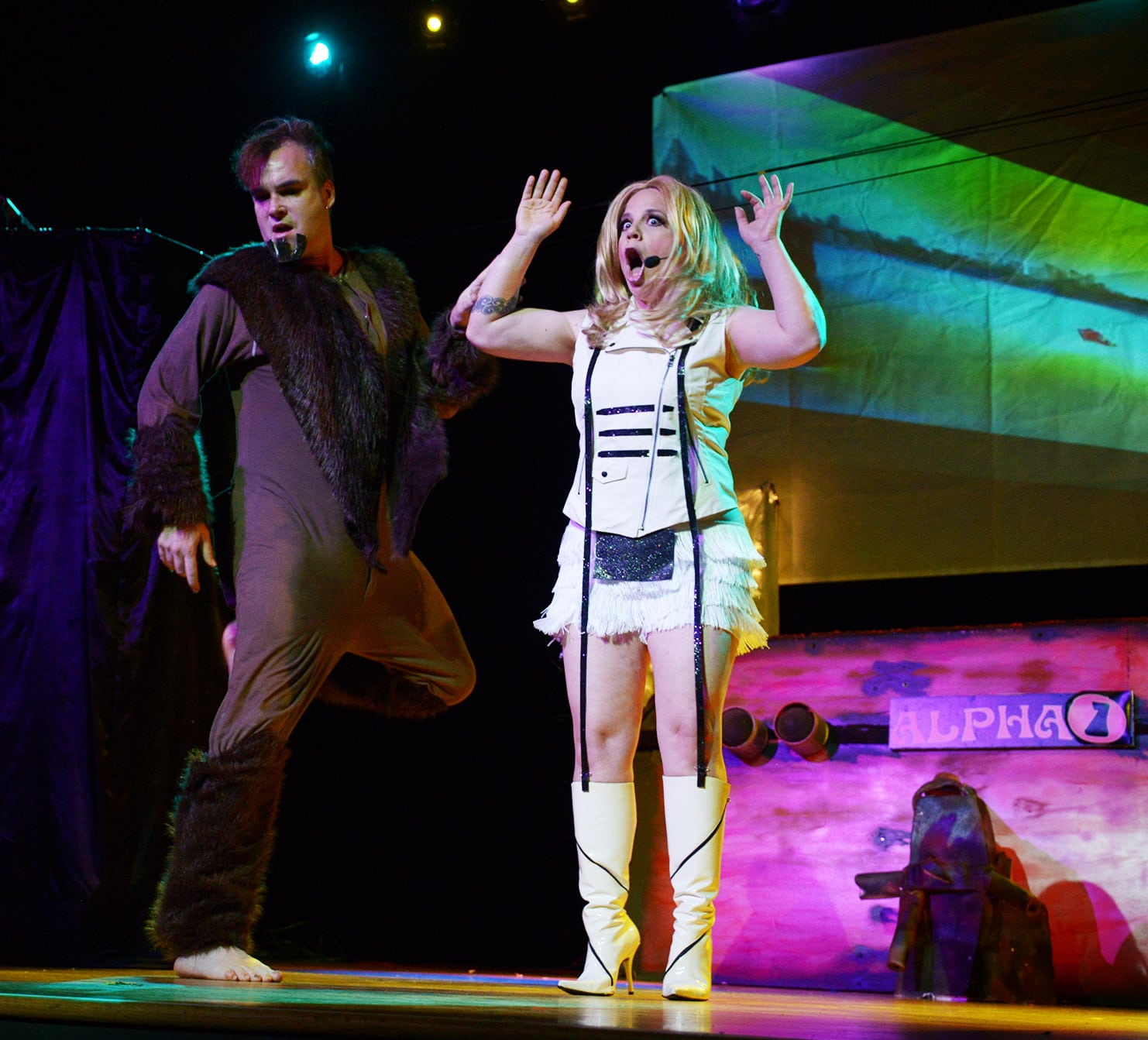 Pole Courter as Mark Hand and Sunny Sighed as Barbarella. Photo by Aaron Barlow.