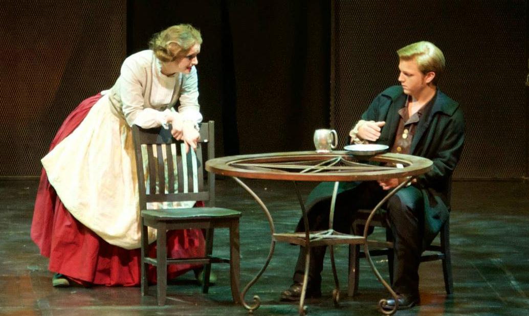 Rachel Lawhead (Mrs. Lovett) and Alex Stone (Sweeney Todd). Photo by CYM Media & Entertainment.