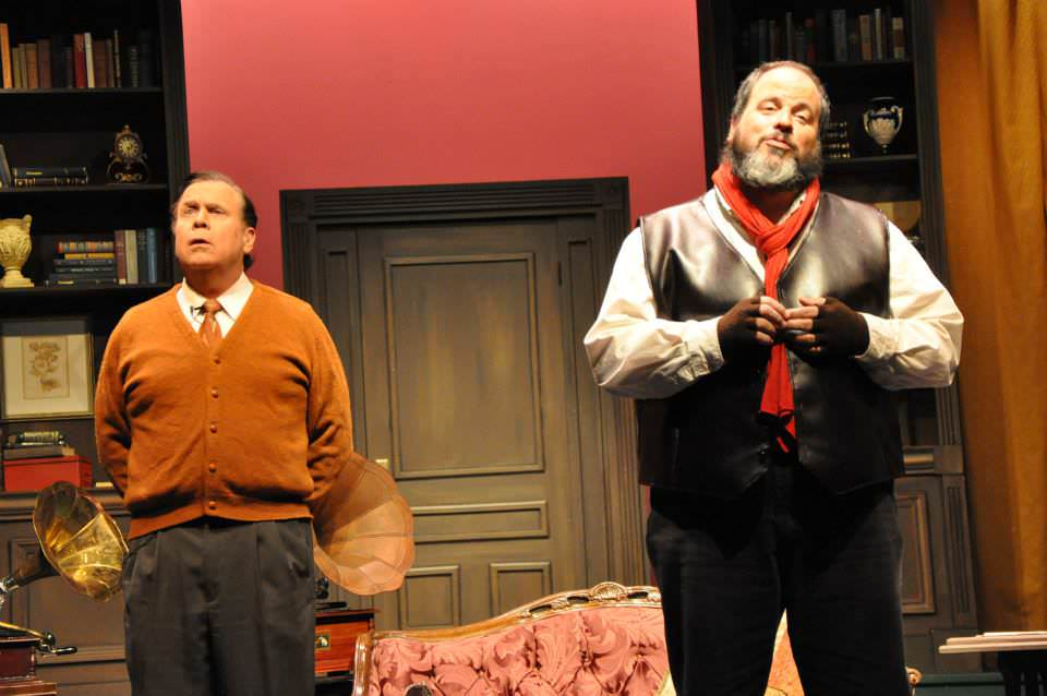 Brian Lyons-Burke. (Henry Higgins) and William T. Fleming (Doolille).Photo by Elli Swink.