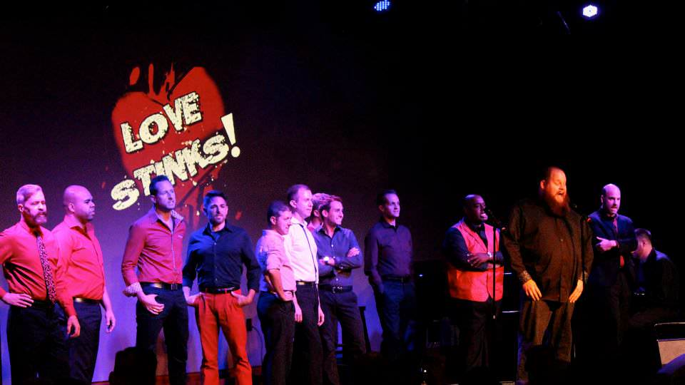 The cast of 'Love Stinks!' at The Gay Men's Chorus of Washington, DC.
