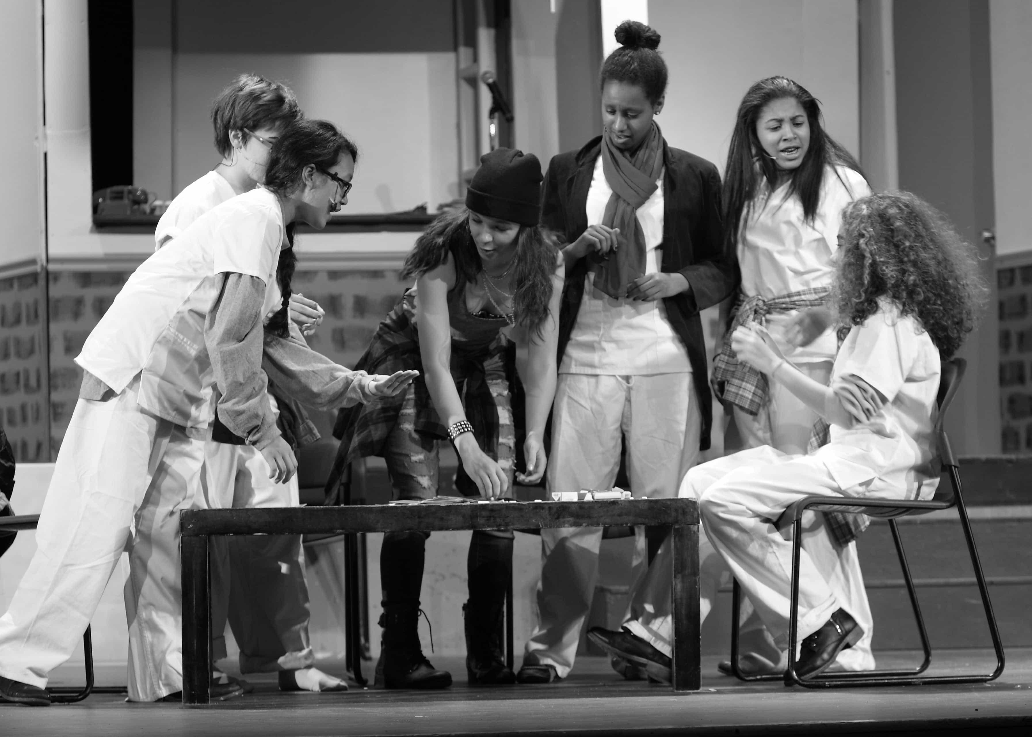 (L to R) Phanida Langer (Bobby), Kiana Burch (Martini), Ellie Milewski(McMurphy), Bethel Elias (Harding), Sydnee Prayor (Scanlon), and Miriam Barsoum (Cheswick). Photo by John Milewski