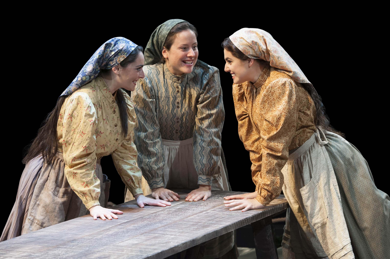 (L to R) Hannah Corneau (Hodel), Dorea Schmidt (Tzeitel), and Maria Rizzo (Chava). Photo by Margot Schulman.