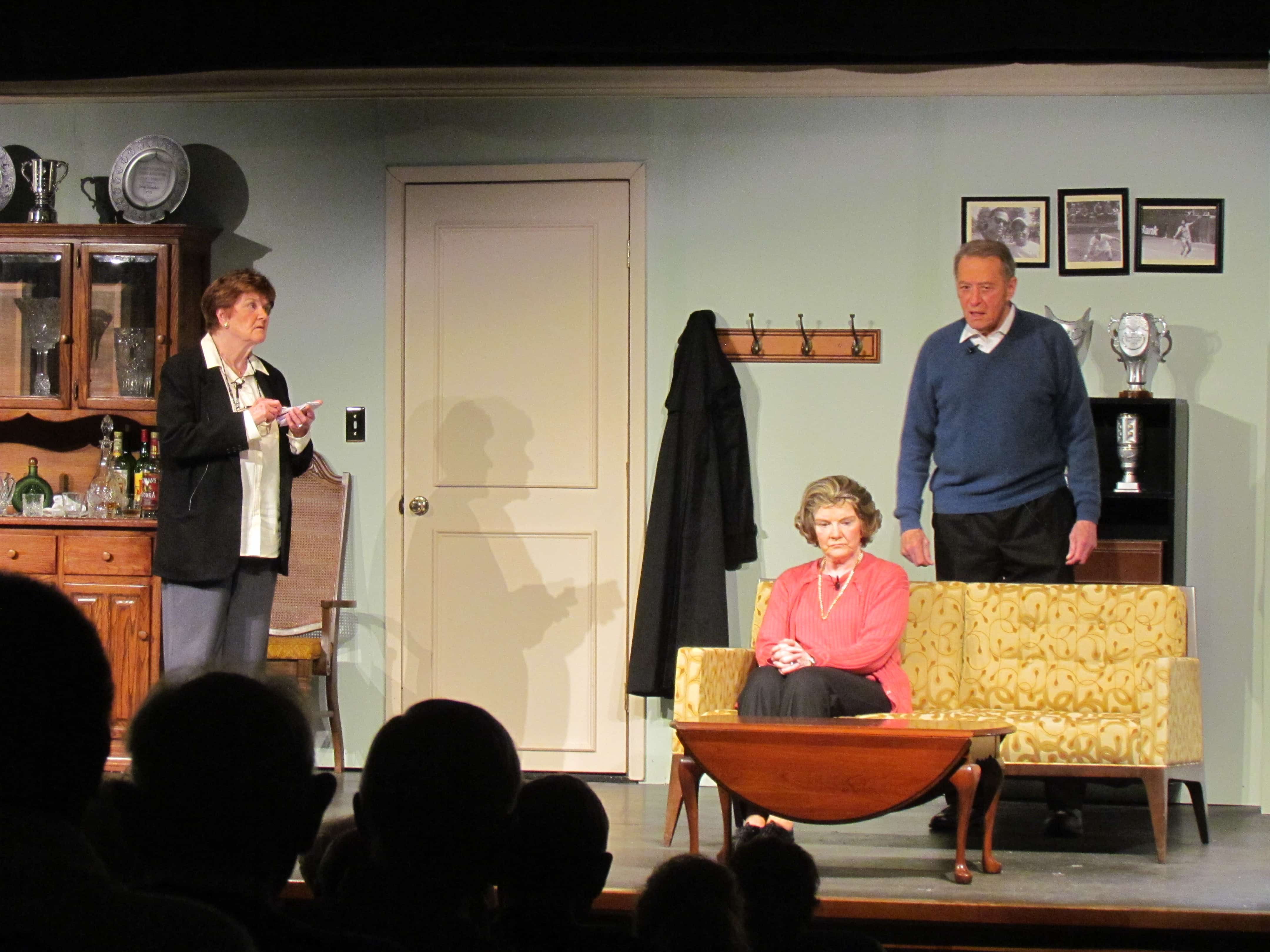 Left to right: Ruth Tomasko (Chief Inspector Hubbard), Janet Rifen (Margot Wendice), and Robert Goolrick (Tony Wendice). Photo by Jessica McKay.