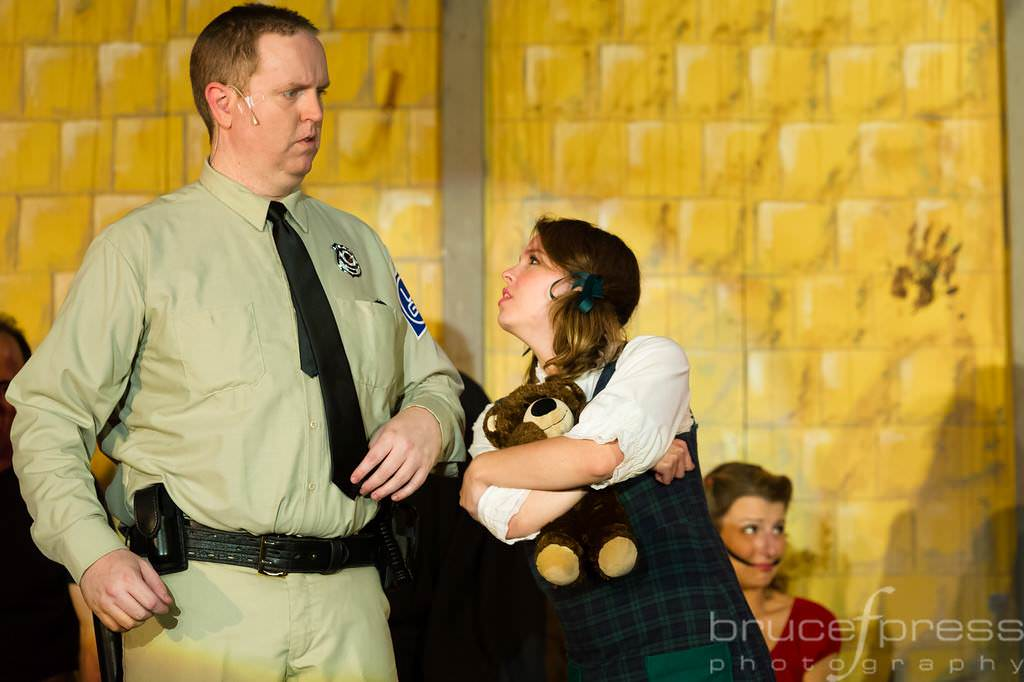 Officer Lockstock (Ryan Geiger) and Little Sally (Katie Dickson), Photo by Bruce F. Press Photography.