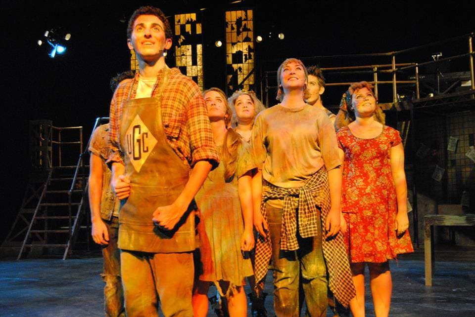 Andy Lieberman (Booby Strong) and the Ensemble of Urinetown Photo by William Atkins, Senior University Photographer