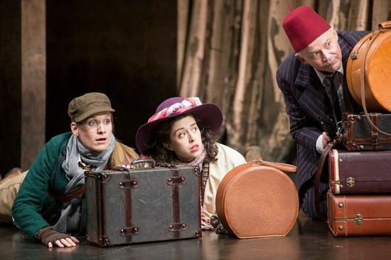 Zoë Waites (Rosalind) and Adina Verson (Celia), and Andrew Weems (Touchstone). Photo by Scott Suchman.