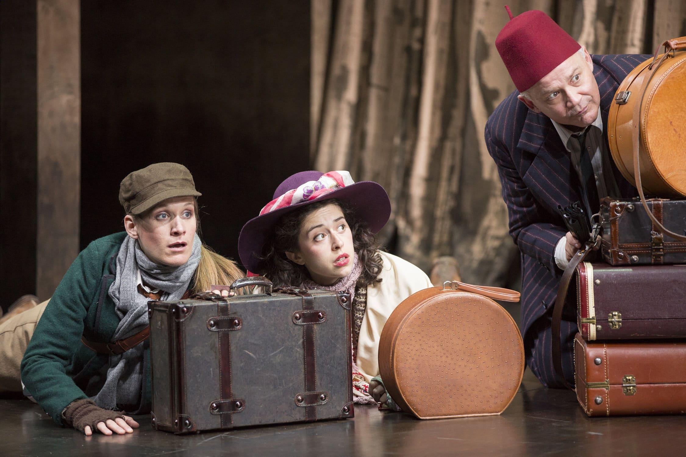 Zoë Waites (Rosalind), Adina Verson (Celia), and Andrew Weems (Touchstone). Photo by Scott Suchman.