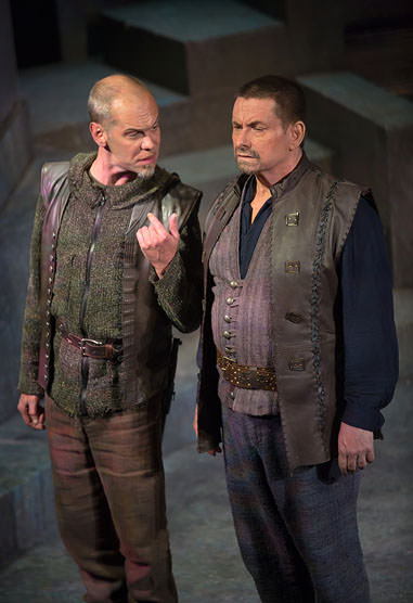 Cassius (Louis Butelli) has a few choice words for Brutus (Anthony Cochrane). Photo by Jeff Malet.