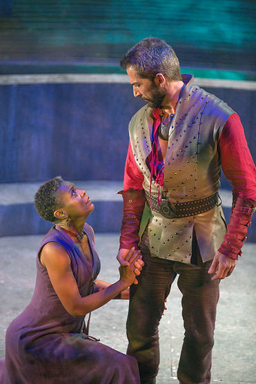 Calphurnia (Deidra LaWan Starnes) pleads with Caesar (Michael Sharon) to stay at home today. Photo by Jeff Malet.