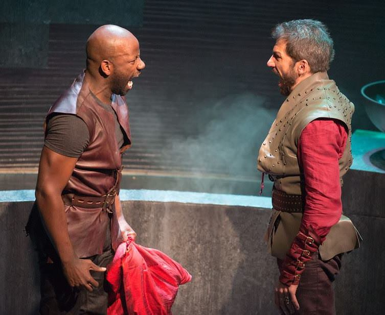 Mark Antony (Maurice Jones, left) and Julius Caesar (Michael Sharon). Photo by Jeff Malet.
