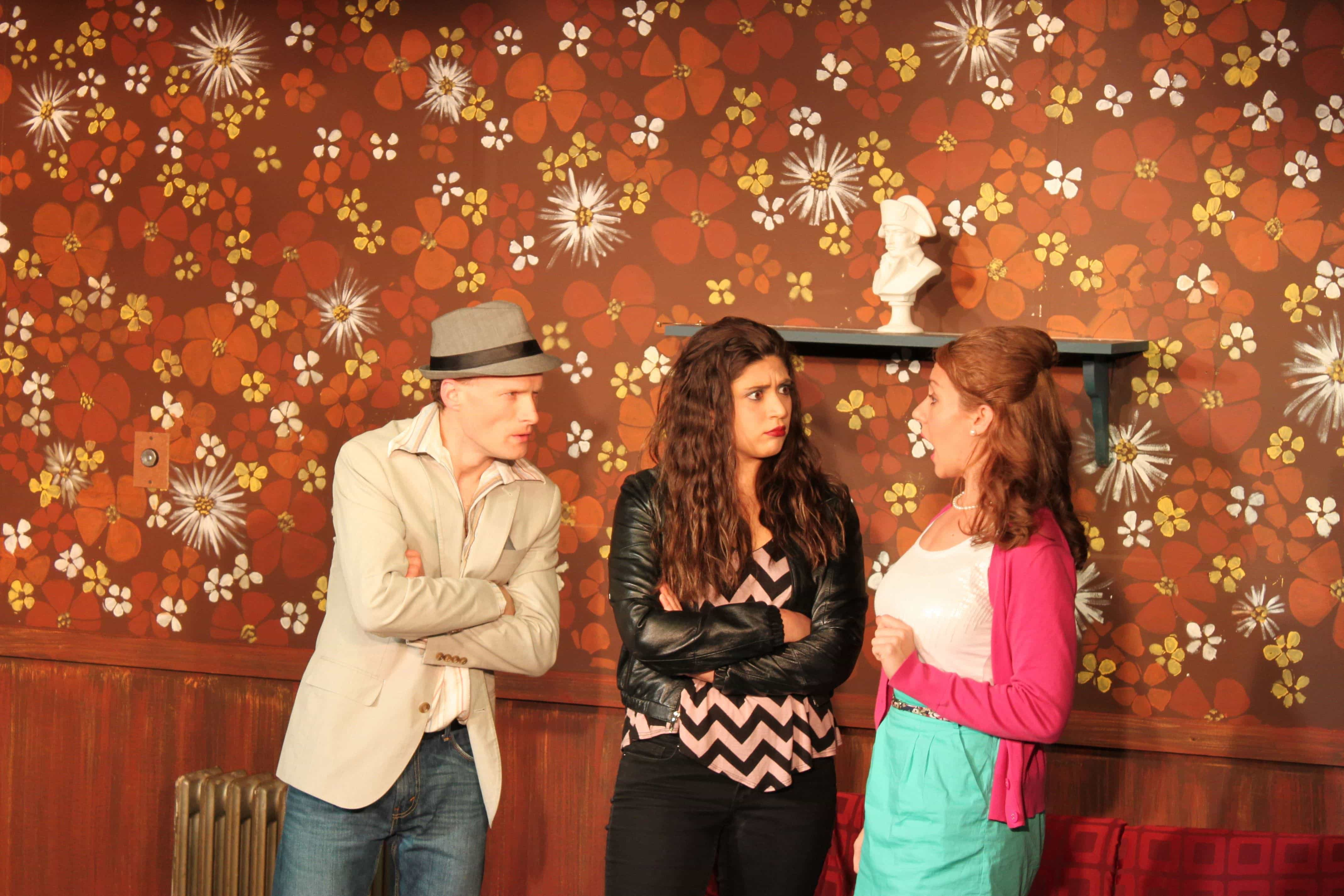 Matt Dundas (Cradeau), Tamara Breuer (Inez), and Jennifer Berry (Estelle). Photo by Toly Yarup.