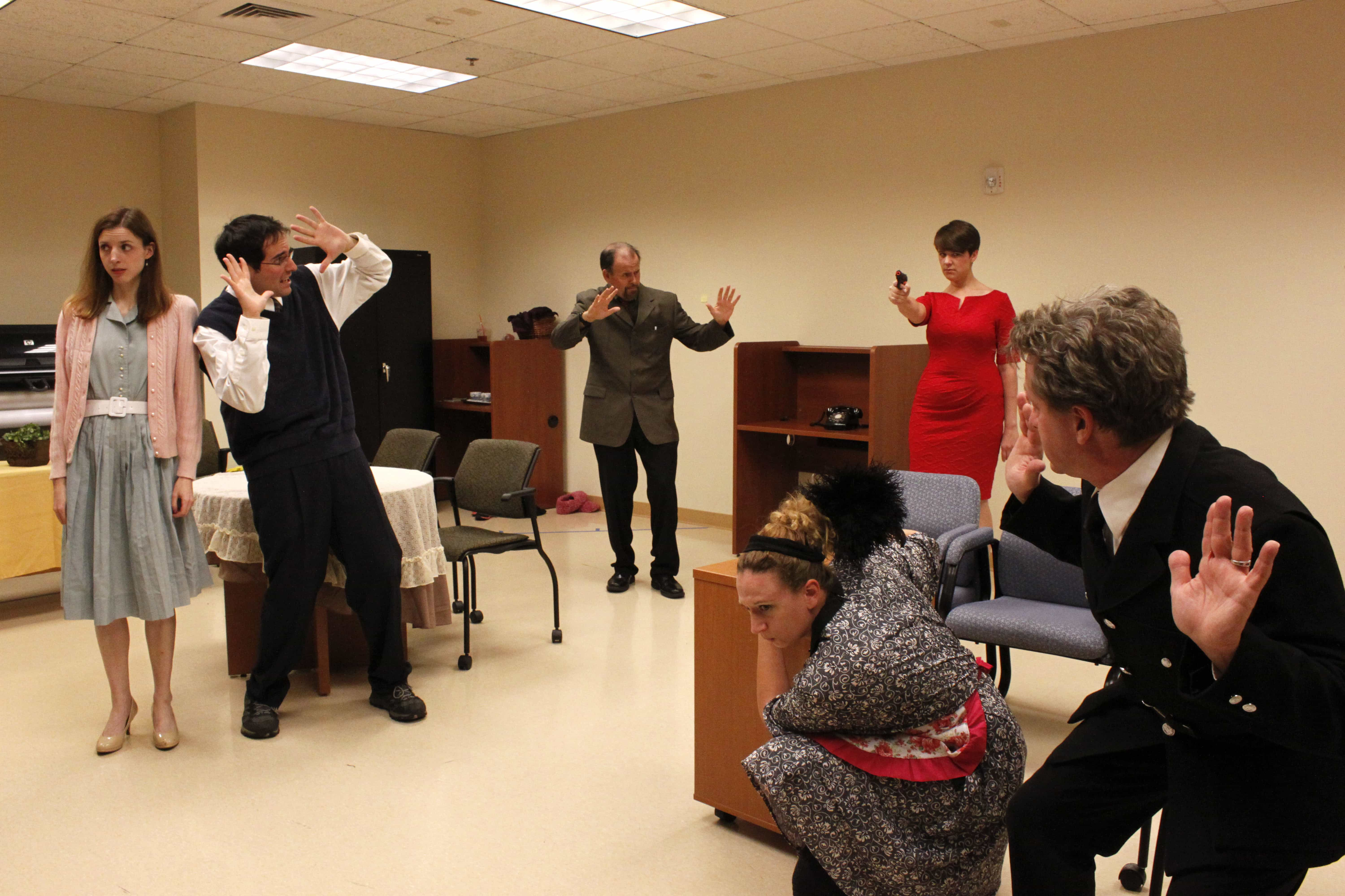 The cast of  'The Murder Room.' Photo. Photo courtesy of Bowie Community Theatre.