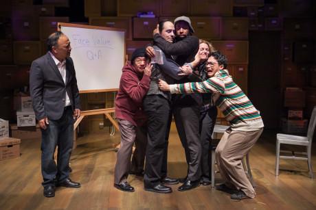 Stan Kang, Al Twanmo, Rafael Untalan, Mark Hairston, Tonya Beckman, and Jacob Yeh in 'Yellow Face.' Photo by C. Stanley Photography.