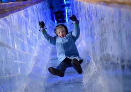 Two-story ice slide.