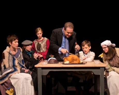 Cratchit Family: Gladys Cratchit (Julie Zito), Tiny Tim (Maria O'Connor), Child 1 (Kathryn LaLonde), Bob Cratchit (Peter J. Orvetti), Child 2 (Aidan Emerson), and Little Nell (Maggie Murphy). Photo by Harvey Levine.