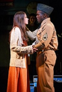 """Sutton Foster (Violet) and Joshua Henry (Flick) in the musical """"Violet.' Photo by Joan Marcus."""