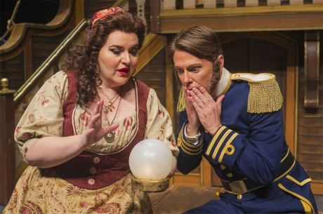 Mezzo-soprano Margaret Gawrysiak (Little Buttercup) and baritone Christopher Burchett (Captain Corcoran). Photo by credit Lucid Frame Productions.