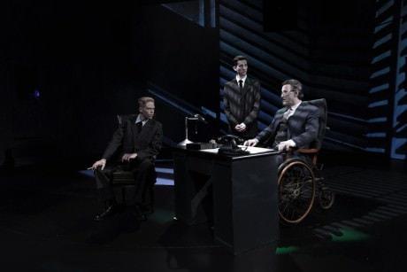 (left to right) Noah Bird (George Bailey), Adam Czarnecki (Mr. Potter's Body Guard), and Gary Grabau (Mr. Potter). Photo by Bruce Press Photography.