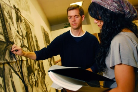 Jim Condron and a student while teaching at Stevenson University. Photo courtesy of Stevenson University.