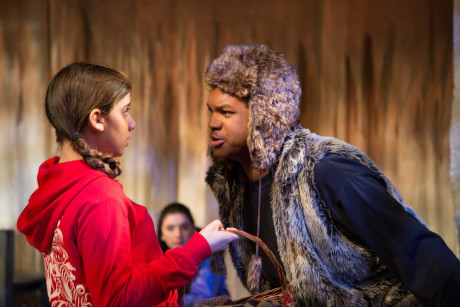 Mia Goodman as Little Red Riding Hood and Michael Mattocks as The Wolf. Photo by Ian Band.