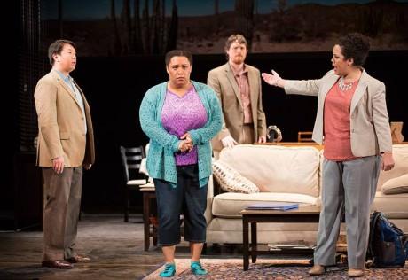 Wei Wu, Deborah Nansteel, Trevor Scheunemann, and Kerriann Otano in 'Penny.' Photo by Scott Suchman.